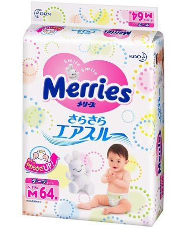 Tã quần Merries nội địa size M 64 miếng- Hàng Nhật nội địa
