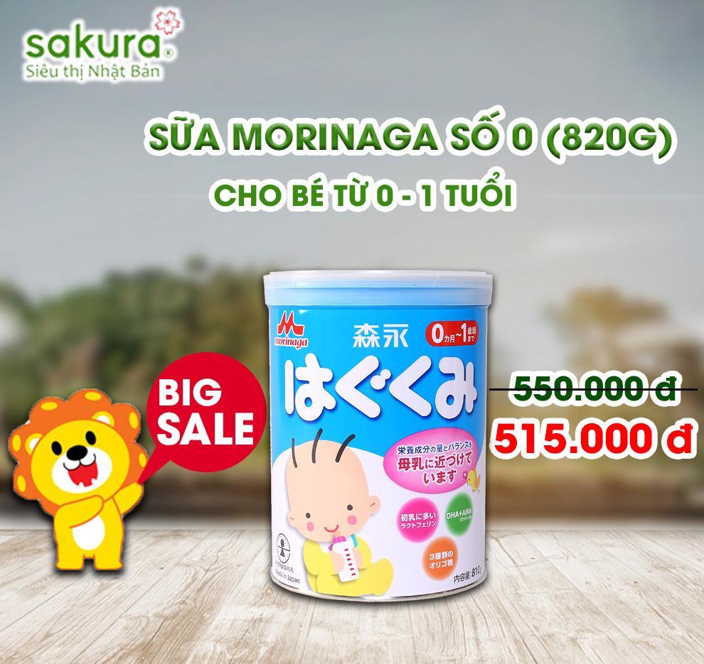 BIG SALE/ Sữa Morinaga 0-1 hộp sắt 810g - Hàng Nhật nội địa