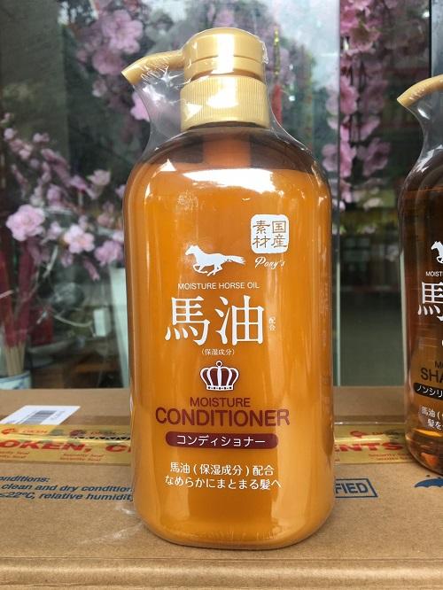 Dầu xả dưỡng ẩm tóc chiết xuất mỡ ngựa Pony 600ml - Hàng Nhật nội địa