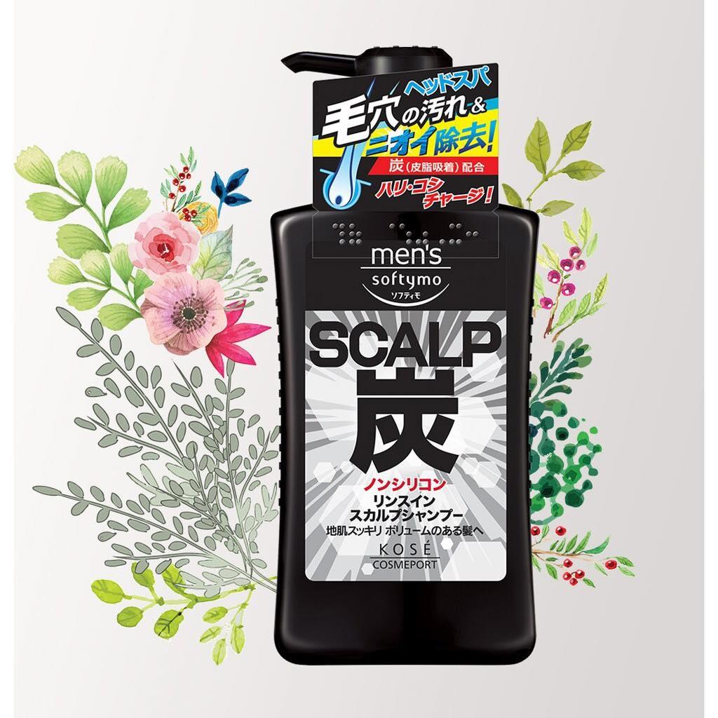 Dầu gội than hoạt tính cho nam Kose Men's Softymo 550ml - Hàng Nhật nội địa
