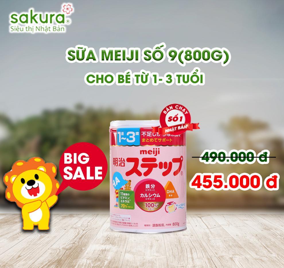BIG SALE/ Sữa Meiji số 9 (1-3 tuổi) hộp 800g - Hàng Nhật nội địa