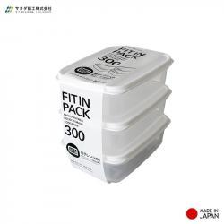 Set 3 hộp nhựa nắp dẻo 300ml (màu trắng) - Hàng Nhật nội địa