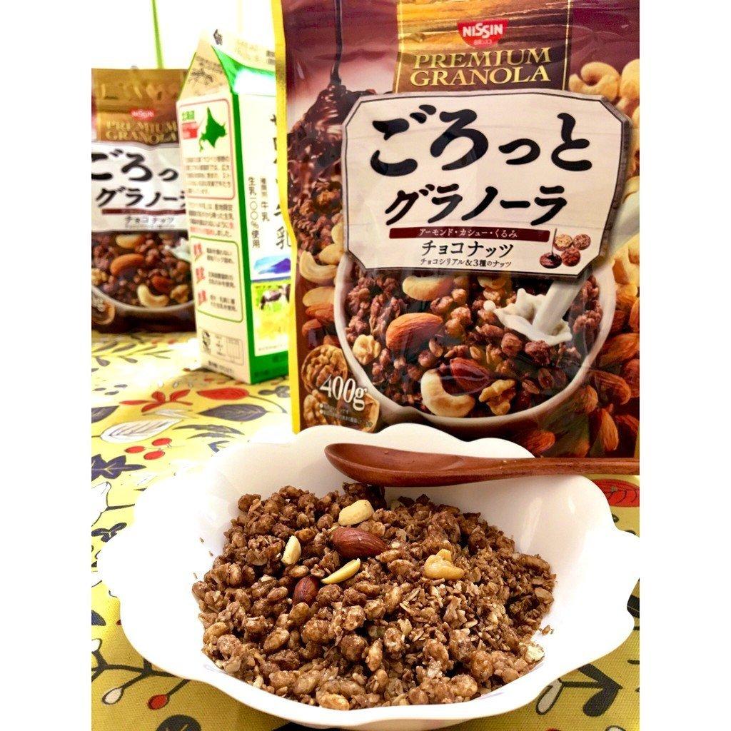 Ngũ cốc Nisin Premium Granola Chocolate Nuts 400g - Hàng Nhật nội địa