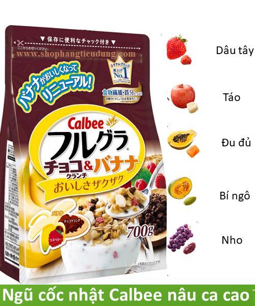 Ngũ cốc dinh dưỡng Calbee 700g màu nâu - Hàng Nhật nội địa