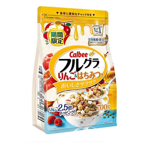 Ngũ cốc Calbee màu vàng trắng 700g (táo + mật ong) - Hàng Nhật nội địa