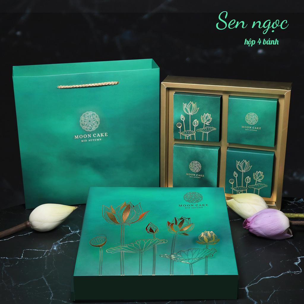 Hộp bánh trung thu cao cấp SAKURA mẫu sen ngọc ( hộp 4 cái)