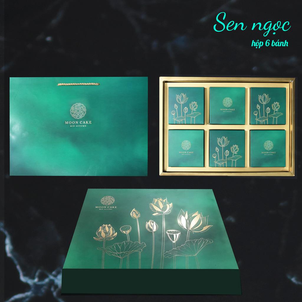 Hộp bánh trung thu cao cấp SAKURA mẫu sen ngọc ( hộp 6 cái)