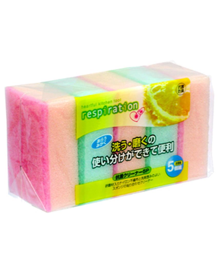 Set 5 miếng xốp rửa bát 1 mặt ráp (Made in Japan) - Hàng Nhật nội địa