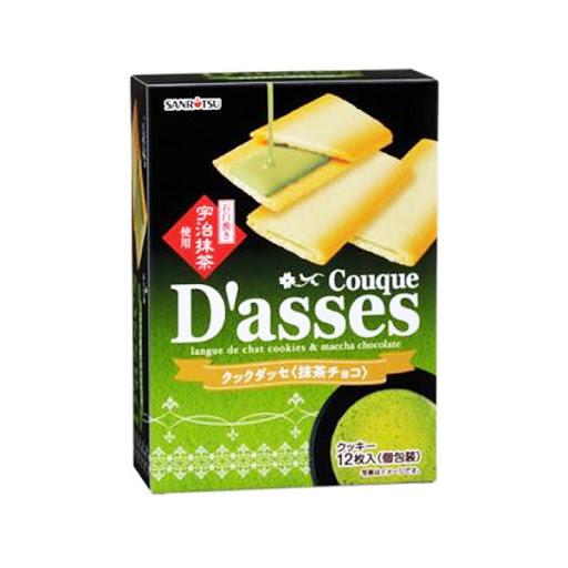 Bánh quy kẹp nhân trà xanh Couque D'asses chocolate 12 chiếc - Hàng Nhật nội địa