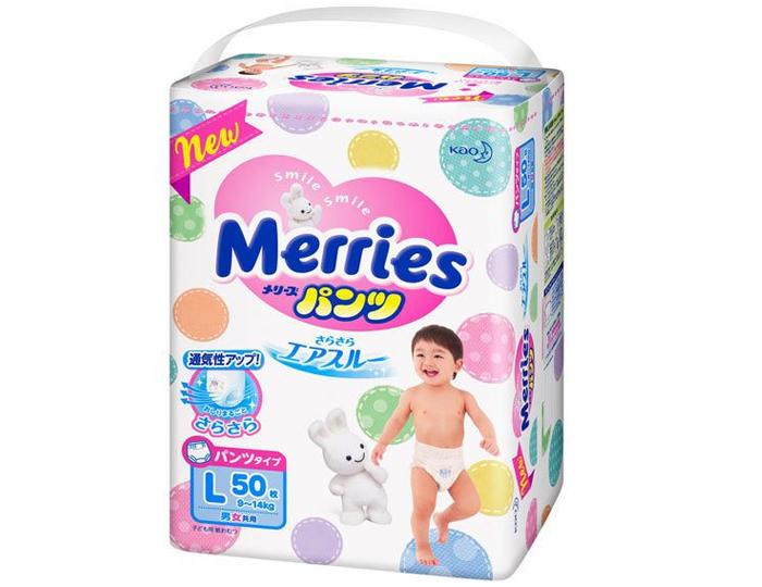 Bỉm Merries quần size L50 miếng ( 9-14Kg)- Hàng Nhật nội địa