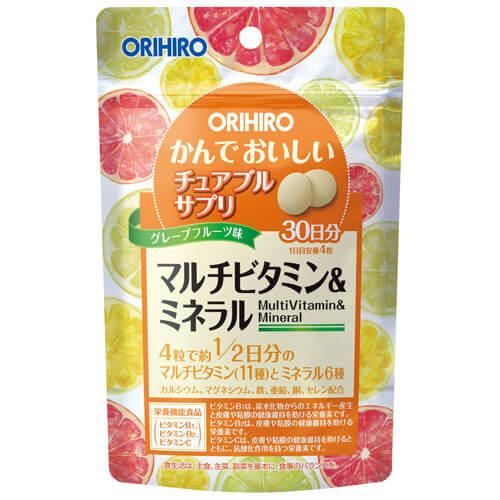 Viên uống Vitamin tổng hợp Orihiro dạng gói 120 viên hương cam  - Hàng Nhật nội địa