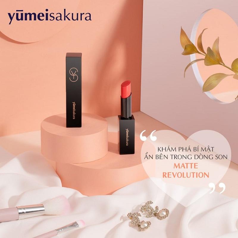 Son Lì YumeiSakura Matte Revolution YMS09 Tomato Red - Hồng Cam