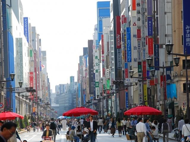 Ginza District In Tokyo