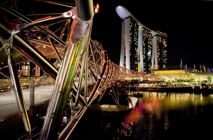 Helix Bridge đến Marina Bay Sands