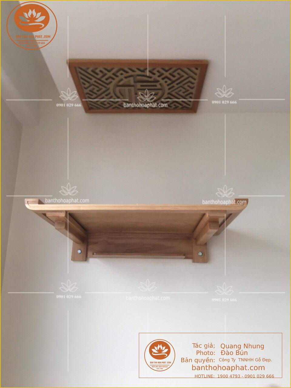- Mẫu bàn thờ treo tường chung cư - chất liệu gỗ sồi - kích thước 48 x 69 - ám khói 41 x 61 chữ lộc hán - màu sắc gỗ tư nhiên màu sồi