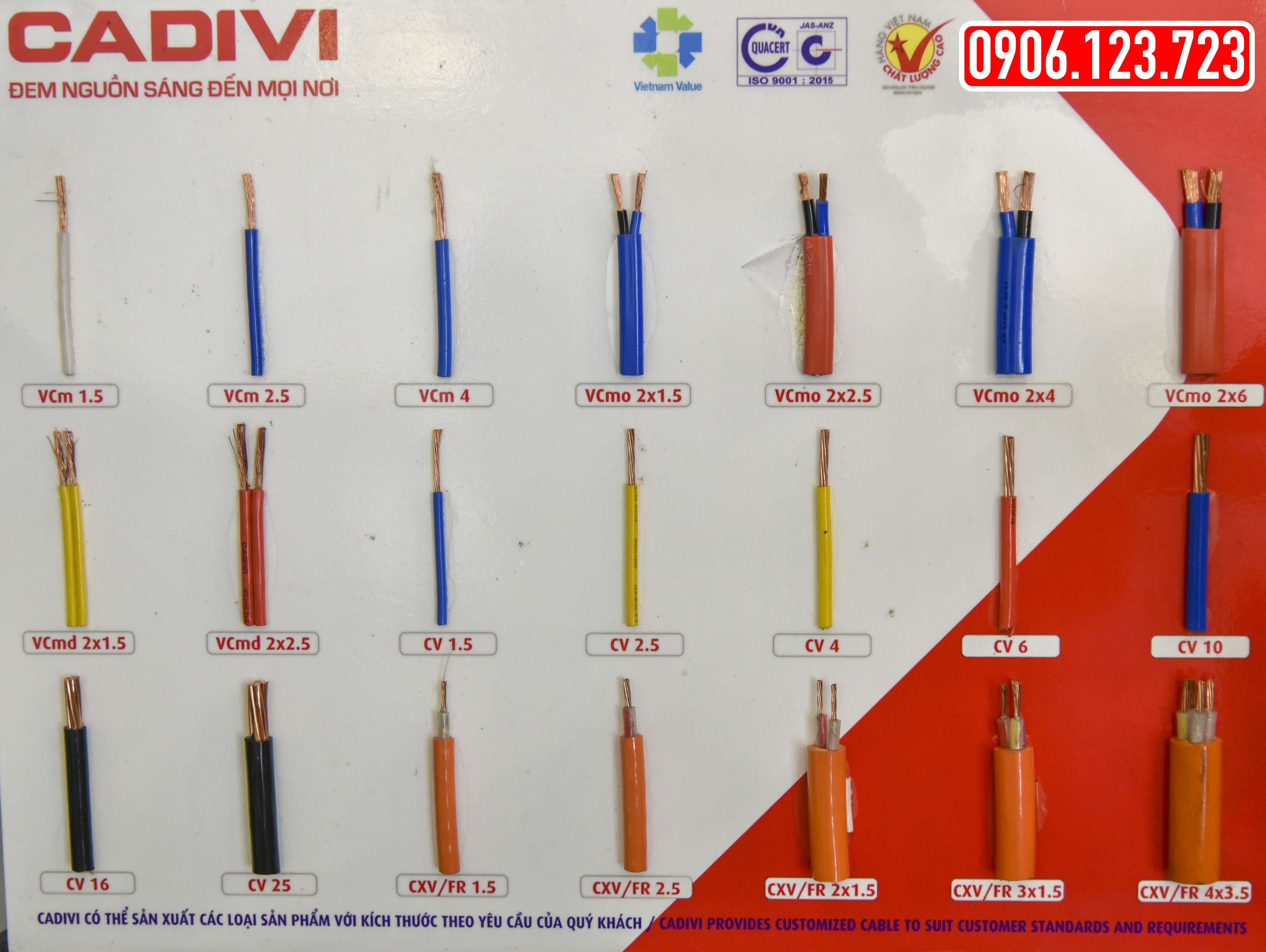 bảng mẫu dây điện Cadivi 2018