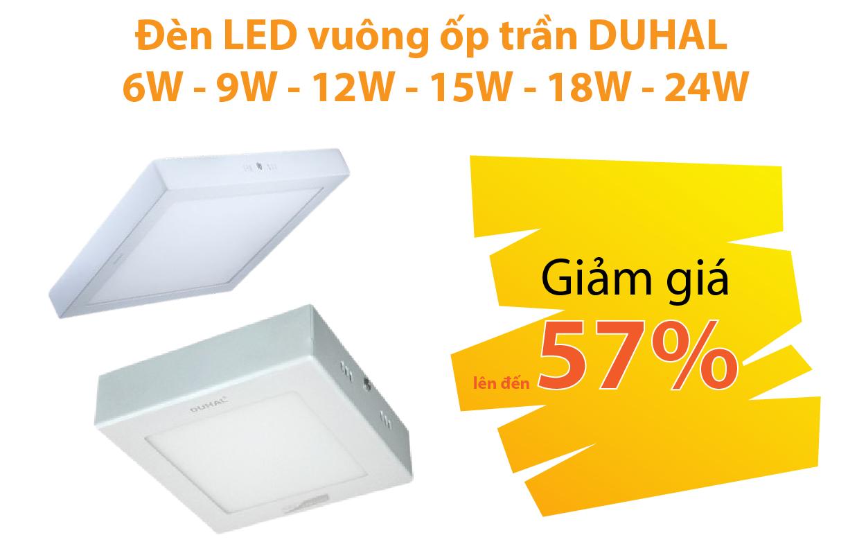 Đèn LED vuông nổi ốp trần DUHAL6W - 9W - 12W - 15W - 18W - 24W giảm từ 47 - 57%