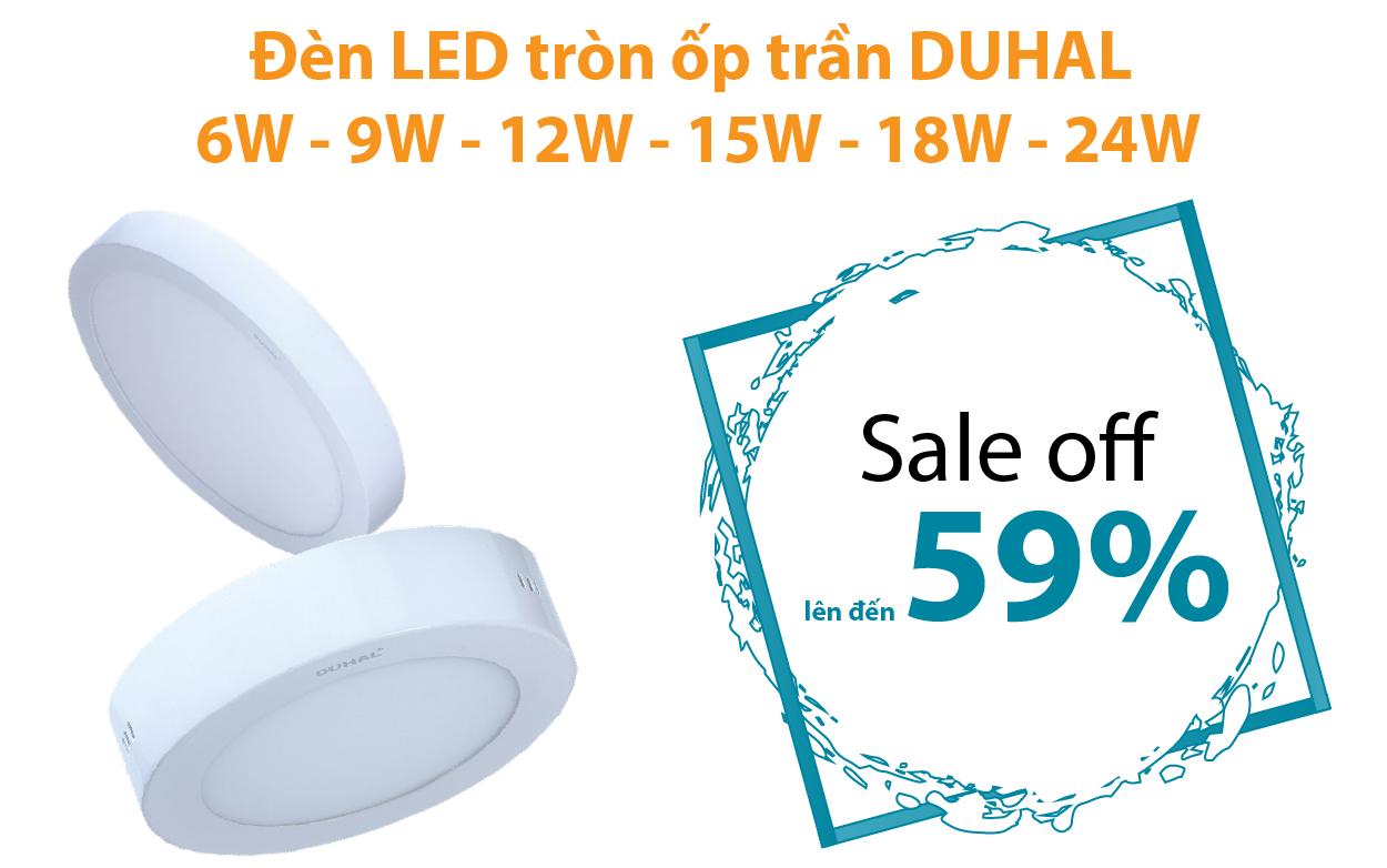 Đèn LED tròn nổi ốp trần DUHAL 6W - 9W - 12W - 15W - 18W - 24W giảm từ 47 - 59%