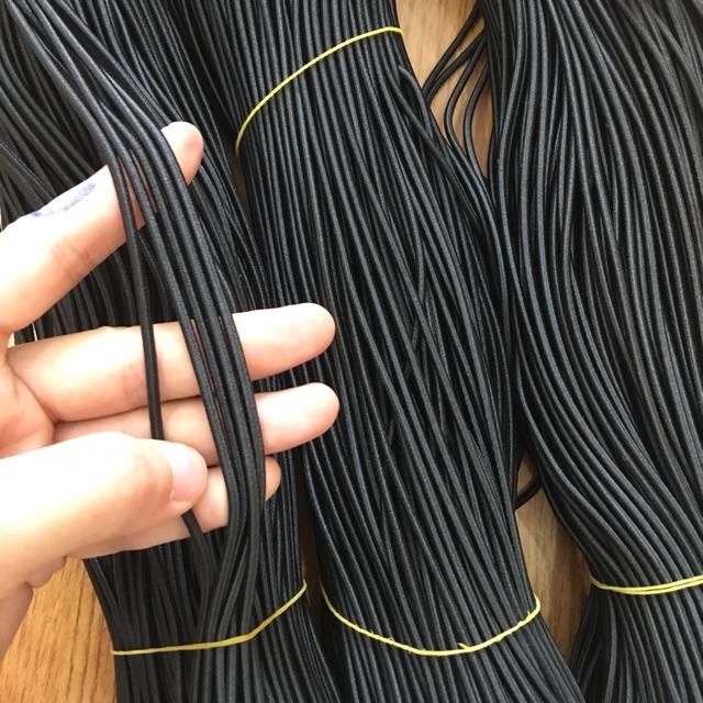 Dây chun co giãn đen 2mm buộc sổ, làm dây buộc tóc bó 5m