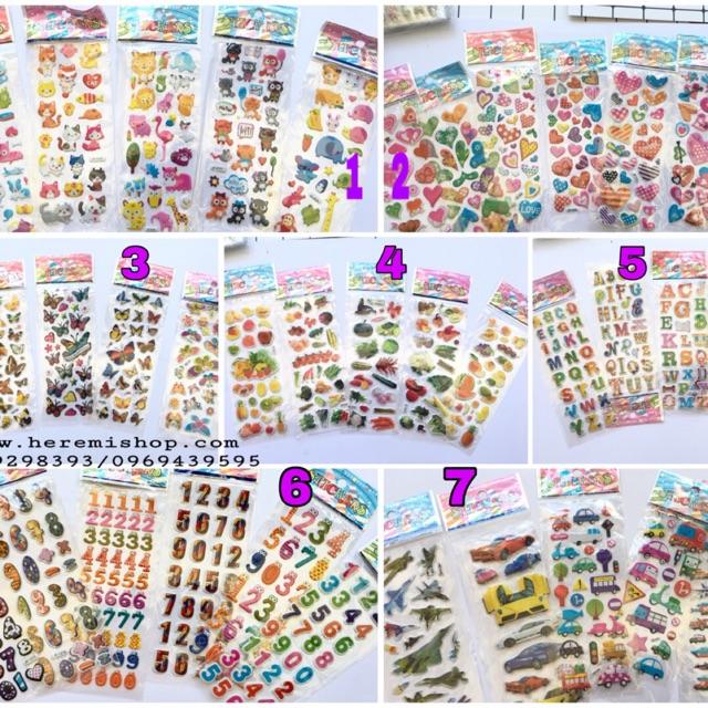Sỉ từ 50 tấm sticker 3D theo chủ đề trang trí album, love box, cho bé học tập giải trí