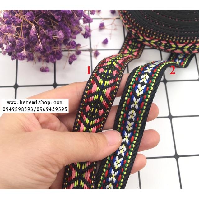Ren trang trí hoạ tiết thổ cẩm bản 2cm