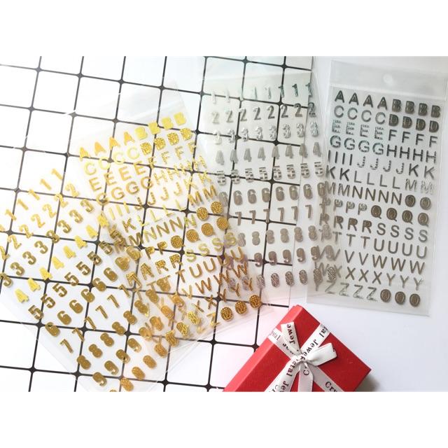 Tấm sticker ánh vàng/bạc trang trí sổ, scrapbook