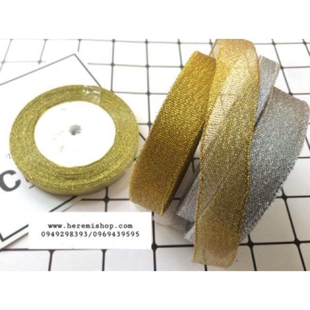 Ruy băng kim tuyến/ ruy băng nhũ bản 1cm và 2cm (cuộn 22m)