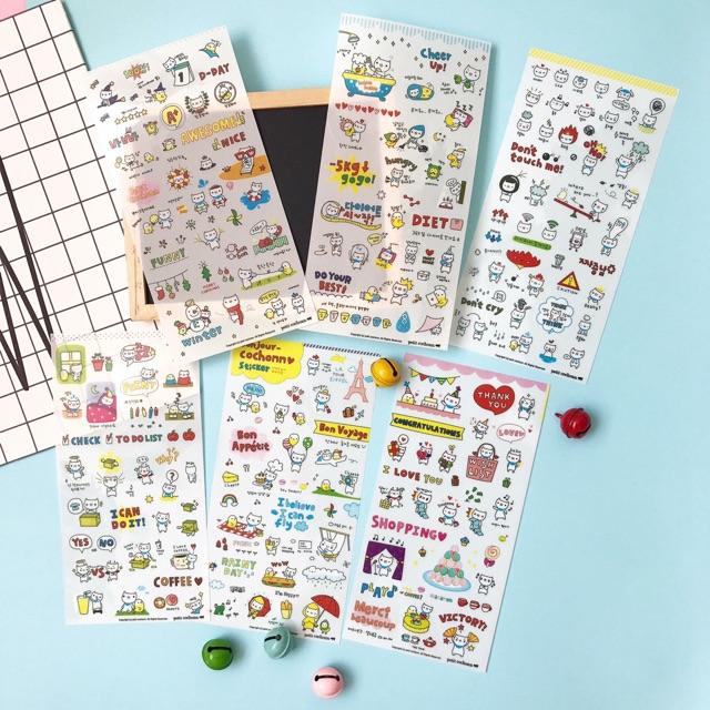 Bộ 6 tấm Sticker cochonn trang trí điện thoại/kính/vở
