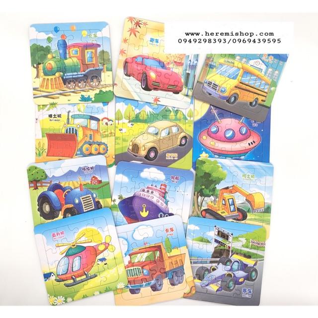 Set 3 tấm xếp hình mẫu công chúa và các loại ô tô