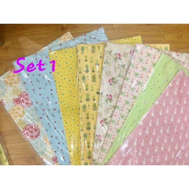 Set 8 tấm giấy bọc quà, bọc sổ hoạ tiết xinh xắn