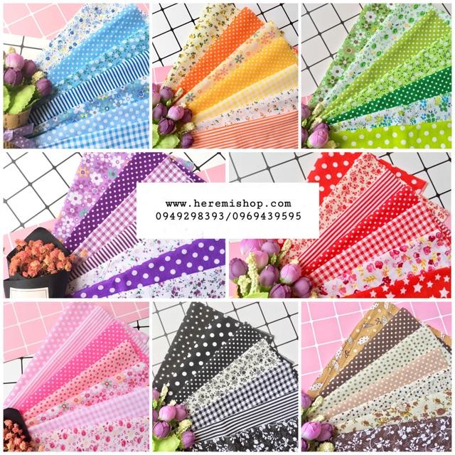Set 7 mảnh vải thô mềm bán theo tông dùng làm hoa, nơ, băng dô, đồ mininature