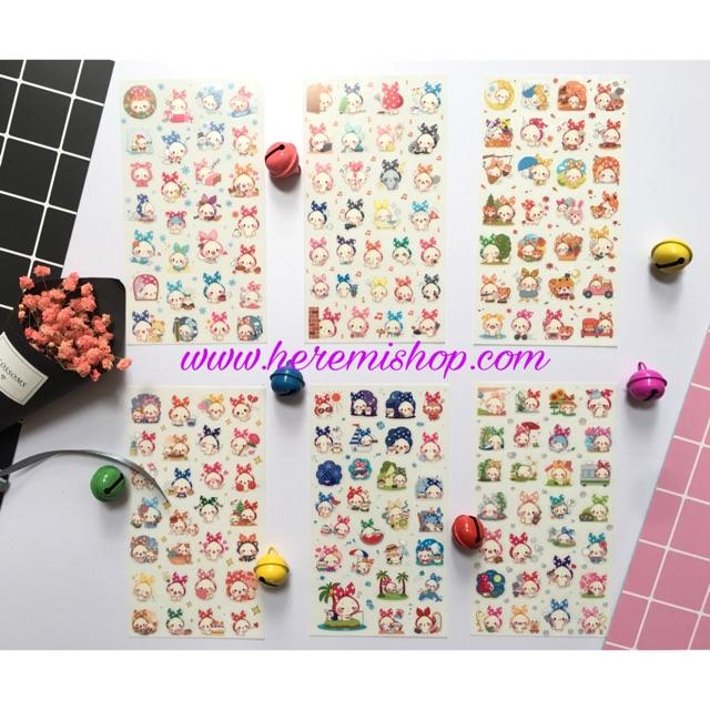 Bộ 6 tấm sticker thỏ hồng so hot