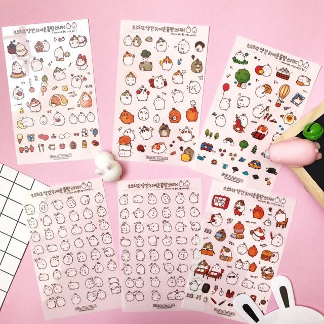 Bộ 6 tấm sticker mèo ú dán sổ/điện thoại/kính...