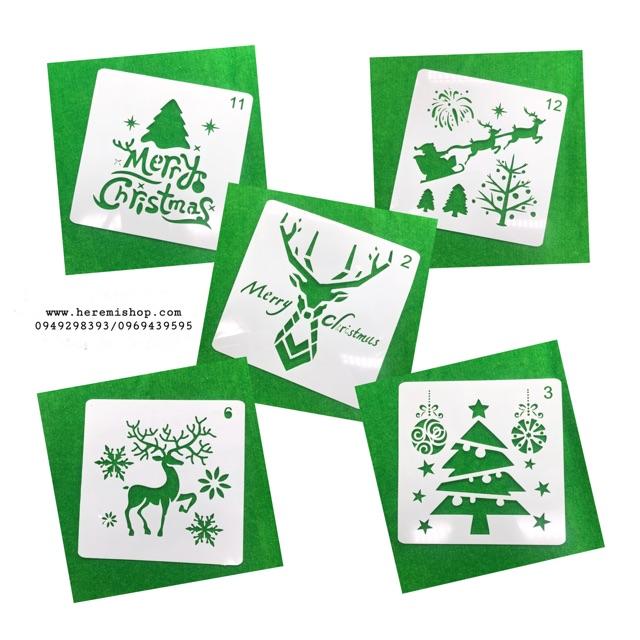 Khuôn kê vẽ thiệp Giáng Sinh
