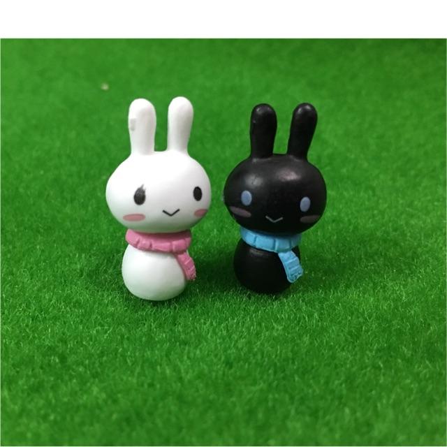 Trang trí tiểu cảnh(terrarium)- Cặp thỏ đen trắng