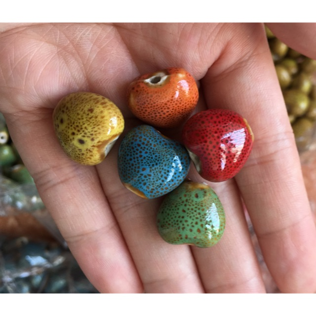 Túi 5 hạt gốm tim