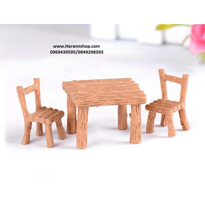 Bộ bàn ghế gỗ tiểu cảnh