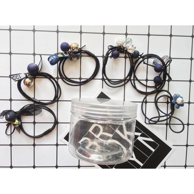Set 6 dây buộc tóc đính hạt có kèm hộp