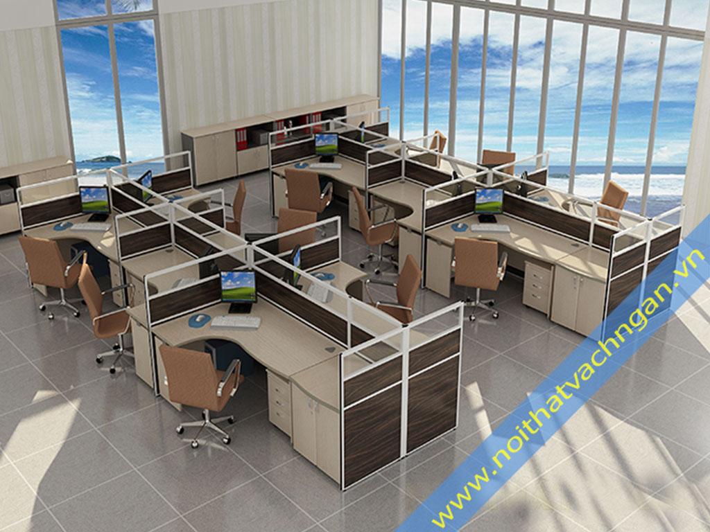 Vách ngăn bàn làm việc gỗ-gỗ-kính VNB02GGK