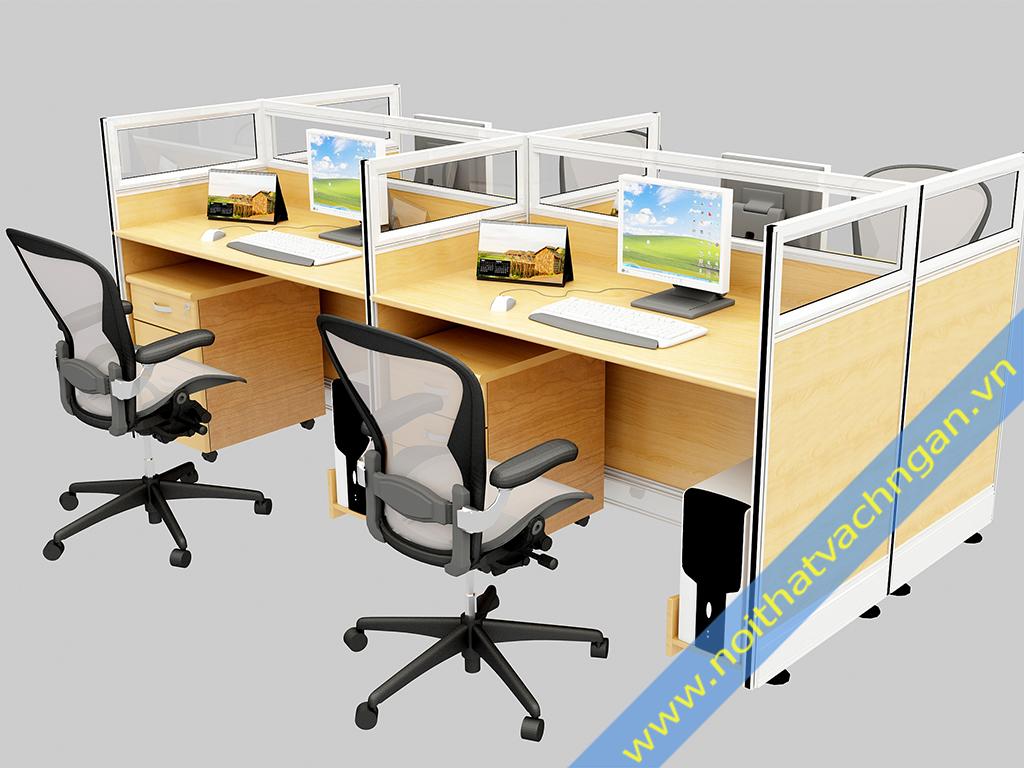 Vách ngăn bàn làm việc gỗ-kính VNB01GK