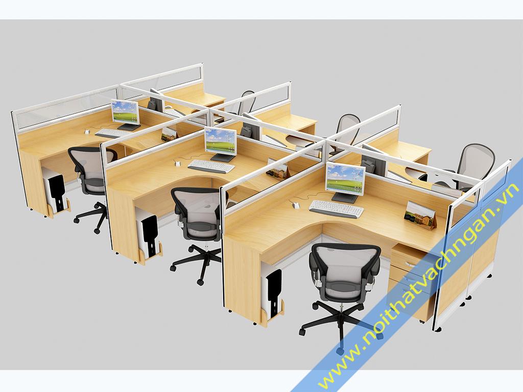 Vách ngăn bàn làm việc gỗ-kính VNB02GK