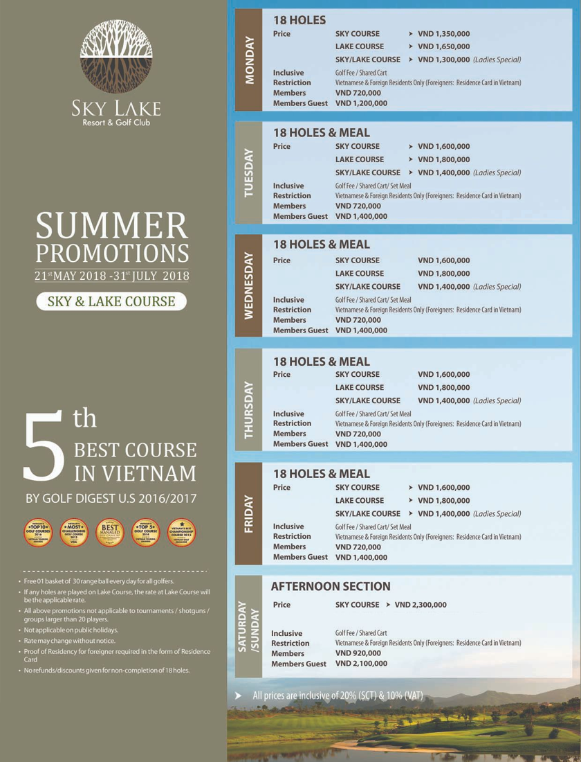 SKY LAKE GOLF COURSE SUMMER PROMOTIONS