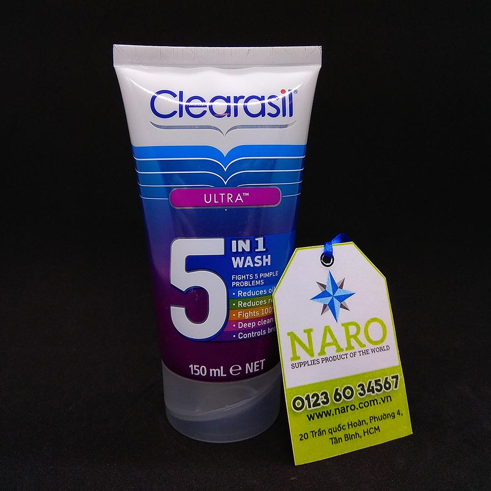 Sữa rửa mặt trị mụn Clearasil Ultra 5 In 1 - tuýp 150ml