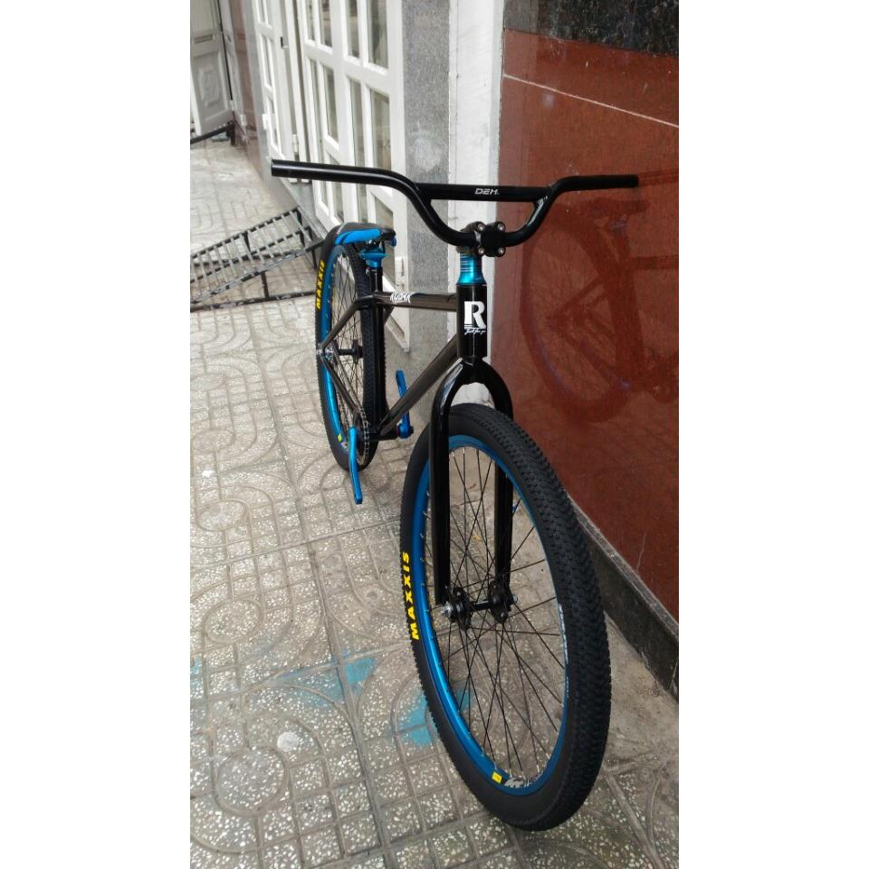 Fixed Gear Freestyle Rubar Đen Xanh