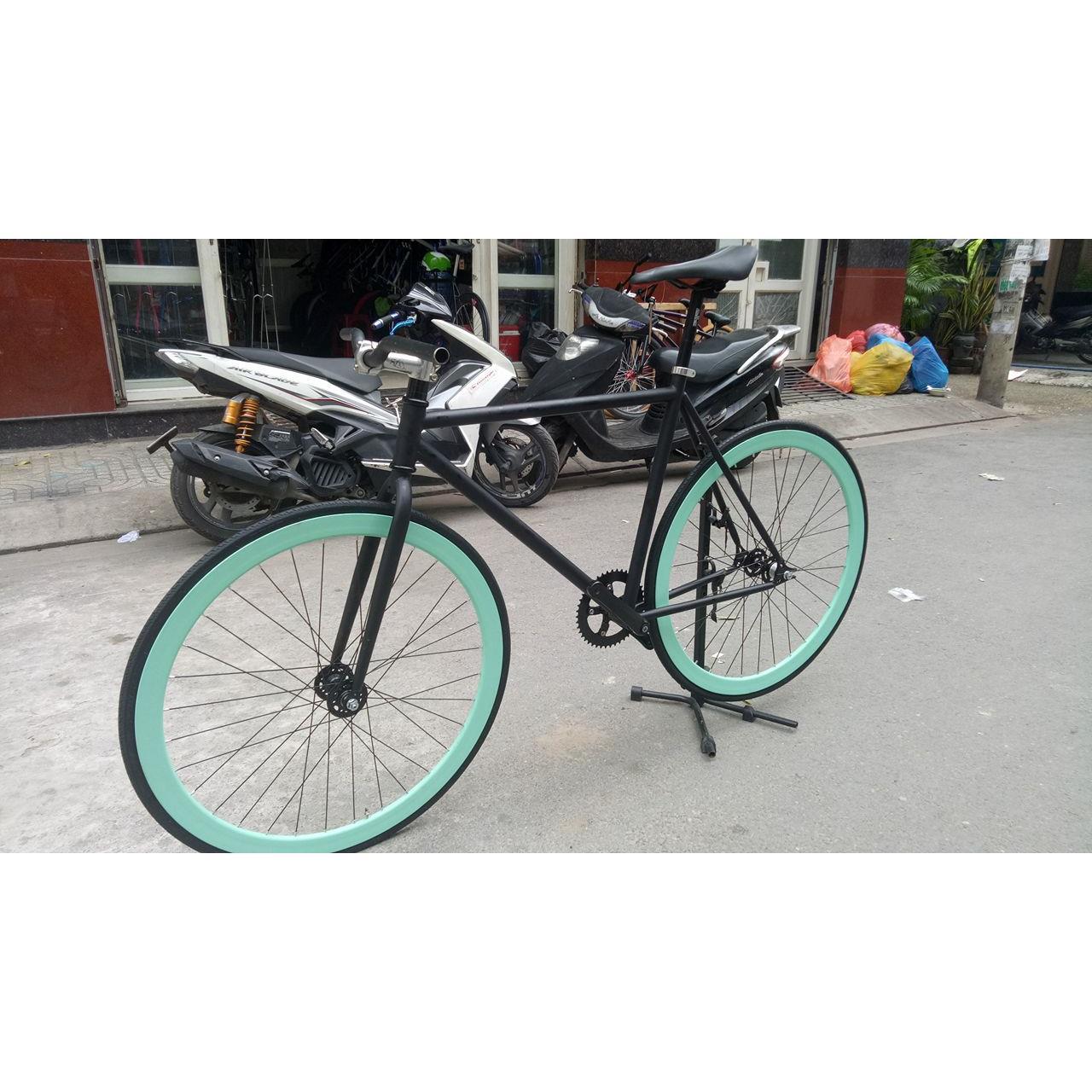 Xe đạp Fixed Gear cơ bản ( Đen - Xanh mint )