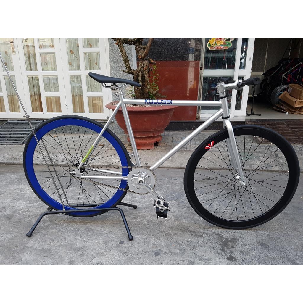 Xe đạp Fixed Gear - Bạc Xanh Dương