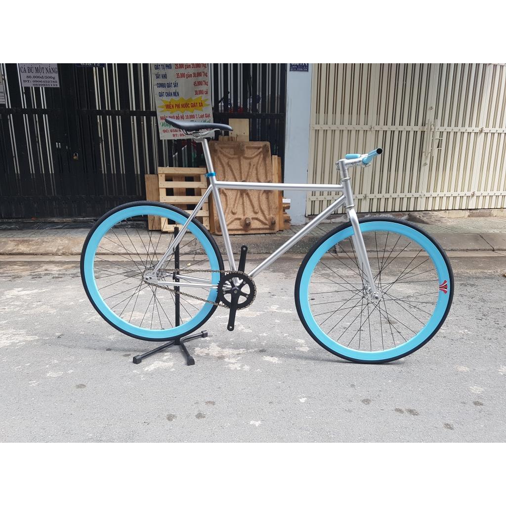 Xe đạp Fixed Gear - Bạc Xanh lam