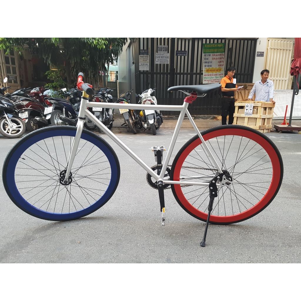 Xe đạp Fixed Gear - Bạc Đỏ