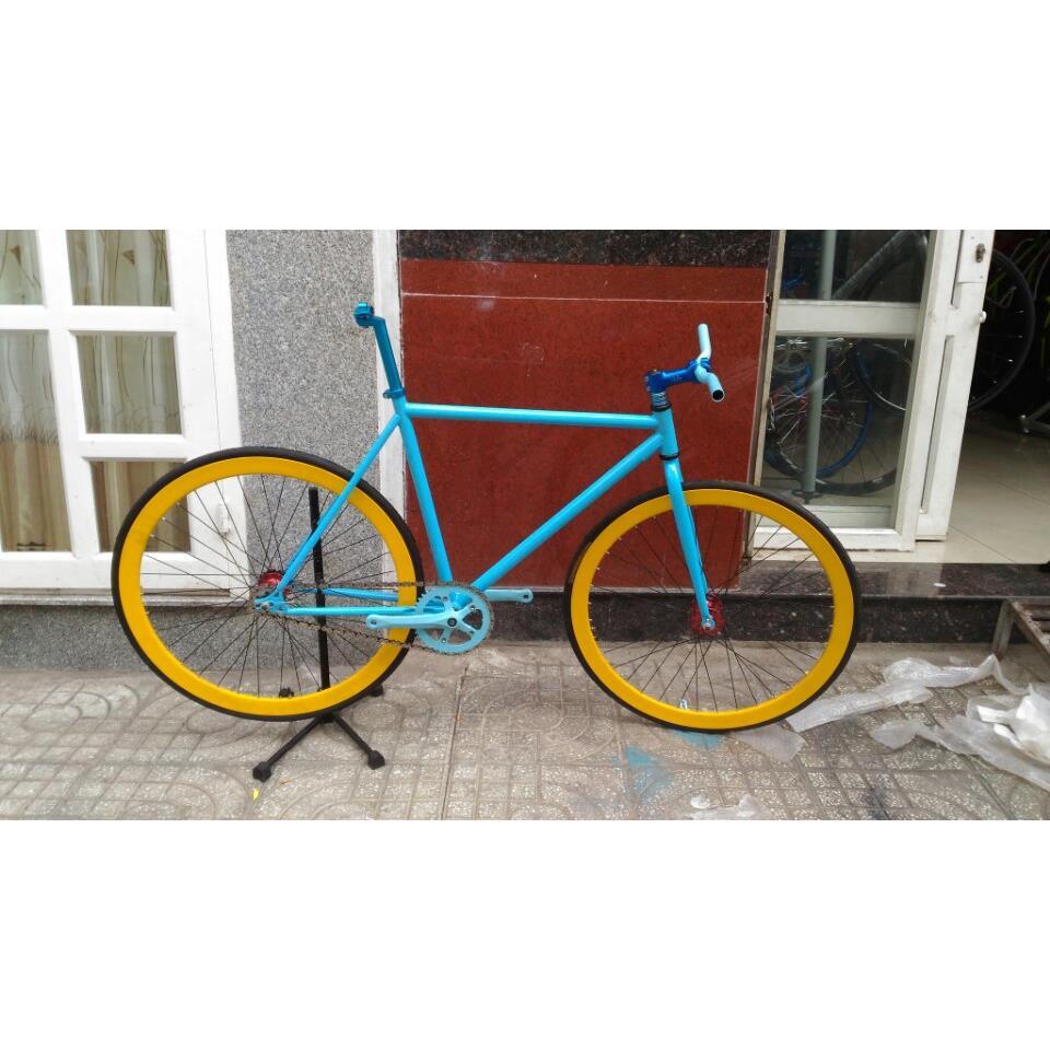 Xe đạp Fixed Gear - Xanh Vàng