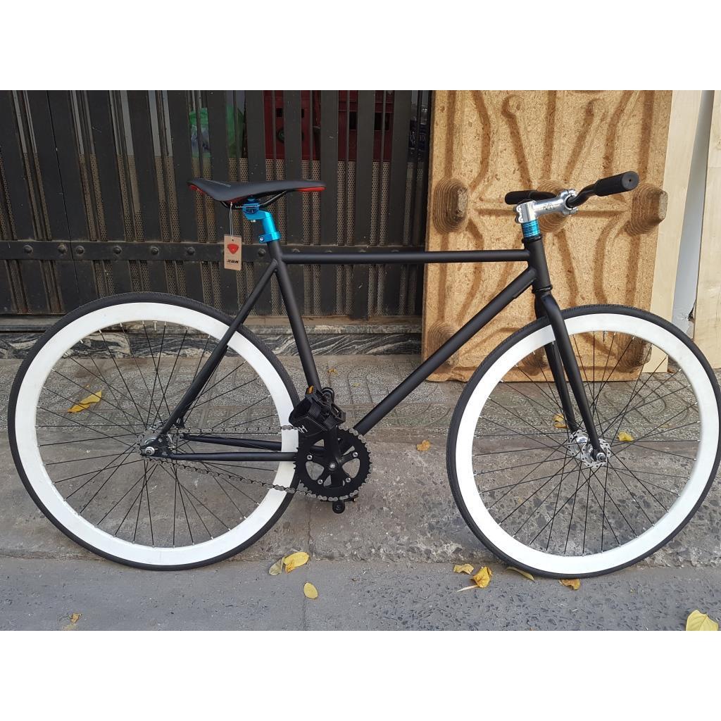 Xe đạp fixed gear - Trắng Đen truvativ